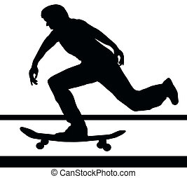 Skateboarding Building Up Speed - Skateboarding Skater...