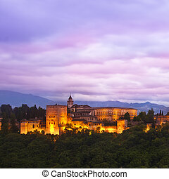 Panorama of Alhambra, Granada, Spain - Evening panoramic...