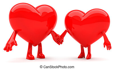Heart shaped man and woman mascot holding hands