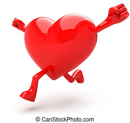 Heart shaped mascot running