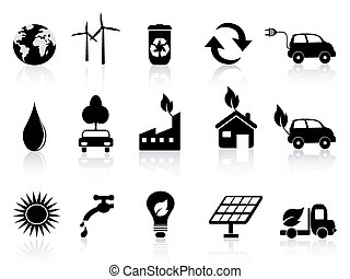 black eco icon - Eco and environment icons in black