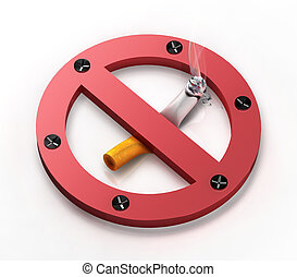 No smoking sign - Metal no smoking sign squeezing cigarette