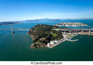 San Francisco Treasury Island - San Francisco Bay bridge and...