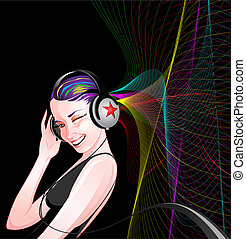 Girl - Beautiful girl listening to music