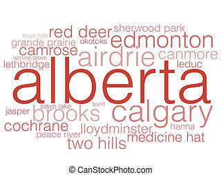 Alberta - A word cloud listing the major cities of Alberta.