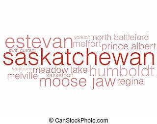 Saskatchewan - A word cloud listing the major cities of...