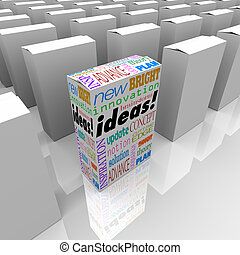 Many Boxes of Ideas - One Different Product Box Stands Out -...