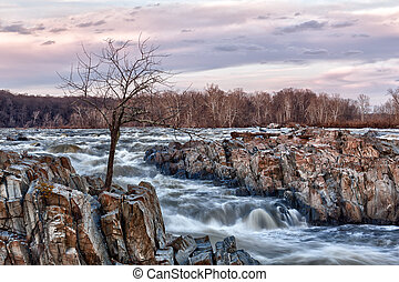 Great Falls Washington at dusk