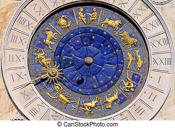 Moon phase clock - Zodiac clock at San Marco square in...