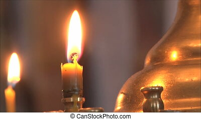 church candles, soft focus