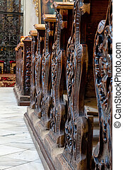 Church Pews - Detailed view of an old wooden church pews