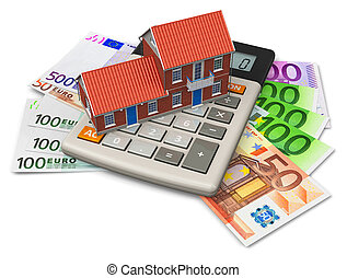 Mortgage concept: toy house on calculator on Euro banknotes...