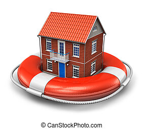 Real estate insurance concept: residential house in red...