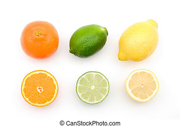 Citrus fruits - Three type of citrus fruits on a white...