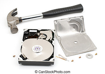 Destroying hard disk drive - Hammer destroying hard disk...