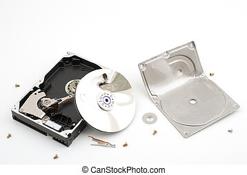 Destroying hard disk drive on a white background