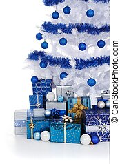 White Cristmas tree with blue decoration