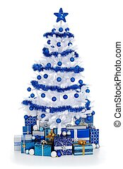 White Cristmas tree with blue decoration - Artificial white...