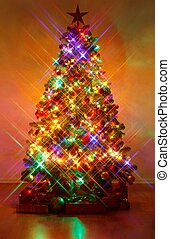 Christmas tree shot with cross screen filter - Christmas...