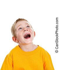 Surpised boy with open mouth looking up