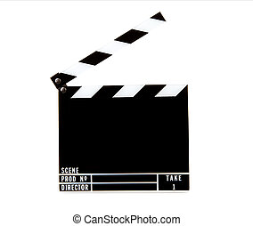 Movie clapper board isolated over white background
