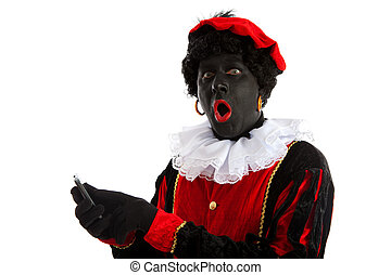 zwarte piet ( black pete) with mobile phone - Zwarte piet (...