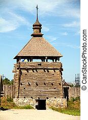 woode church on island Hortitsa Ukrain