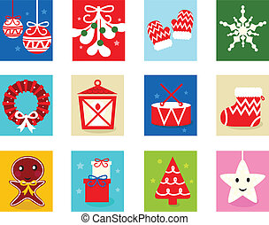 Christmas Advent Calendar elements 1 - isolated on white -...