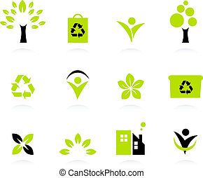 Ecology, nature and environment icons set isolated on white