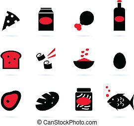 Retro food icons set isolated on white ( black, red ) - 12...