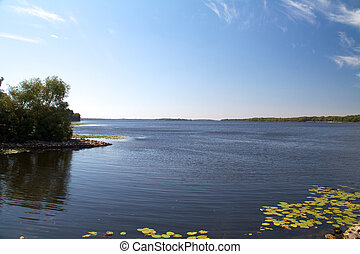 Dnipro river coast in Ukraine