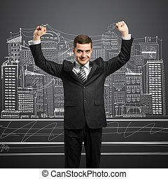 businessman with hands up - happy businessman with hands up,...