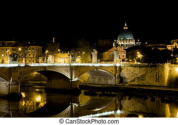View of Roma - beautiful night photo of rome with the tiber...
