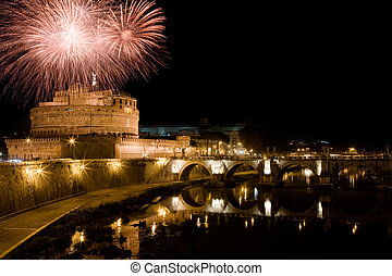 New Year in Rome - photo of St Angels Castle with a firework...