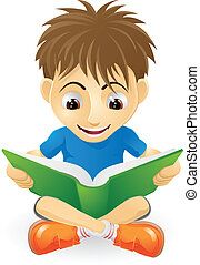 Happy young boy reading - An illustration of a happy small...