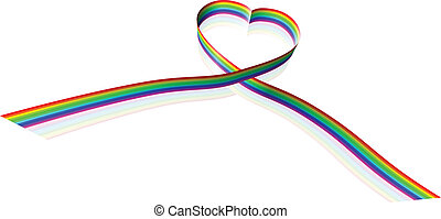Rainbow coloured heart shape ribbon - Illustration of a...