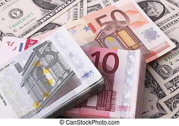 wads - Wads of  5, 10, 50 Euro on one-dollar bills