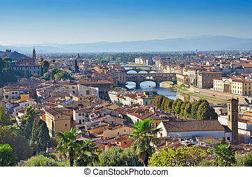 Florence, Italy - Arno River and Florence Panorama