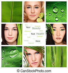 Organic skincare - Collage with four beautiful healthy...