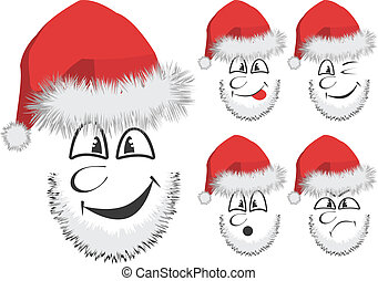 Fun Santas face - Vector of 5 fun Santa