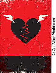 Broken heart with wings - Red and black poster with broken...