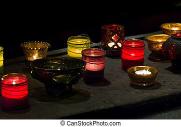 Glowing Candles In The Darkness