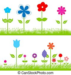 Flowers in the grass - Cute frame of colorful flowers