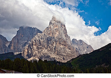 famous pass in the Alpes Passo di Rolle, old ancient Pass in...