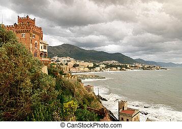 Castle Boccadasse - rough sea to Genoa to Boccadasse