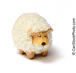 Sheep toy - White sheep toy isolated on a white background...