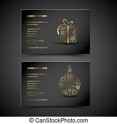 Set of vector christmas New Year cards gift and decoration...