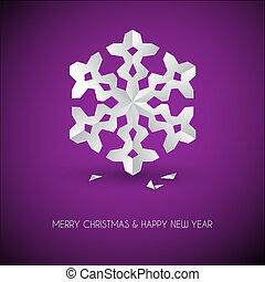 Vector white paper christmas snowflake on a purple...