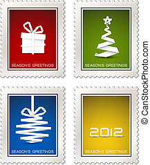 Collection of modern vector postage stamps