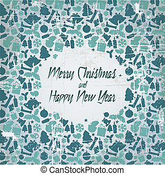 Retro christmas vector card with seasonal pattern